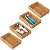 mDesign Bamboo Kitchen Drawer Storage Organizer Tray 9 L Pack of 6 mDesign Bamboo Kitchen mDesign Bamboo Kitchen Drawer Storage Organizer Tray 9 L Pack of 6 mDesign Bambo...