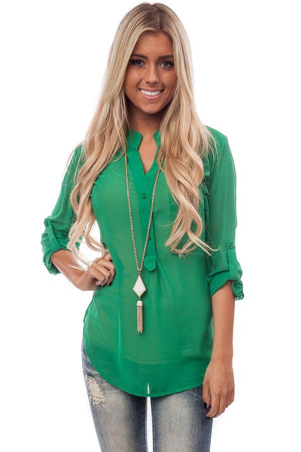 e9aede0f32884 Lime Lush Boutique - Green Chiffon Button Blouse