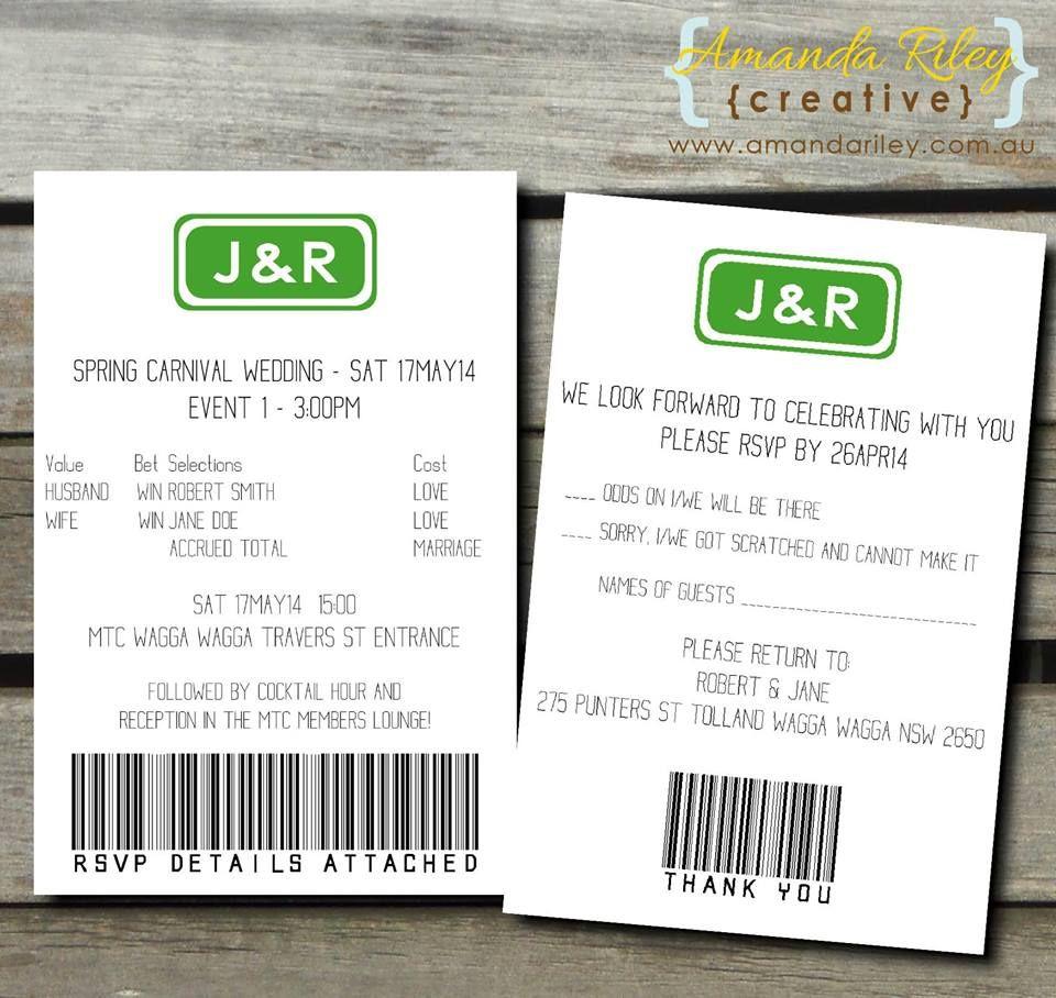 Betting Slip Style Wedding Stationery