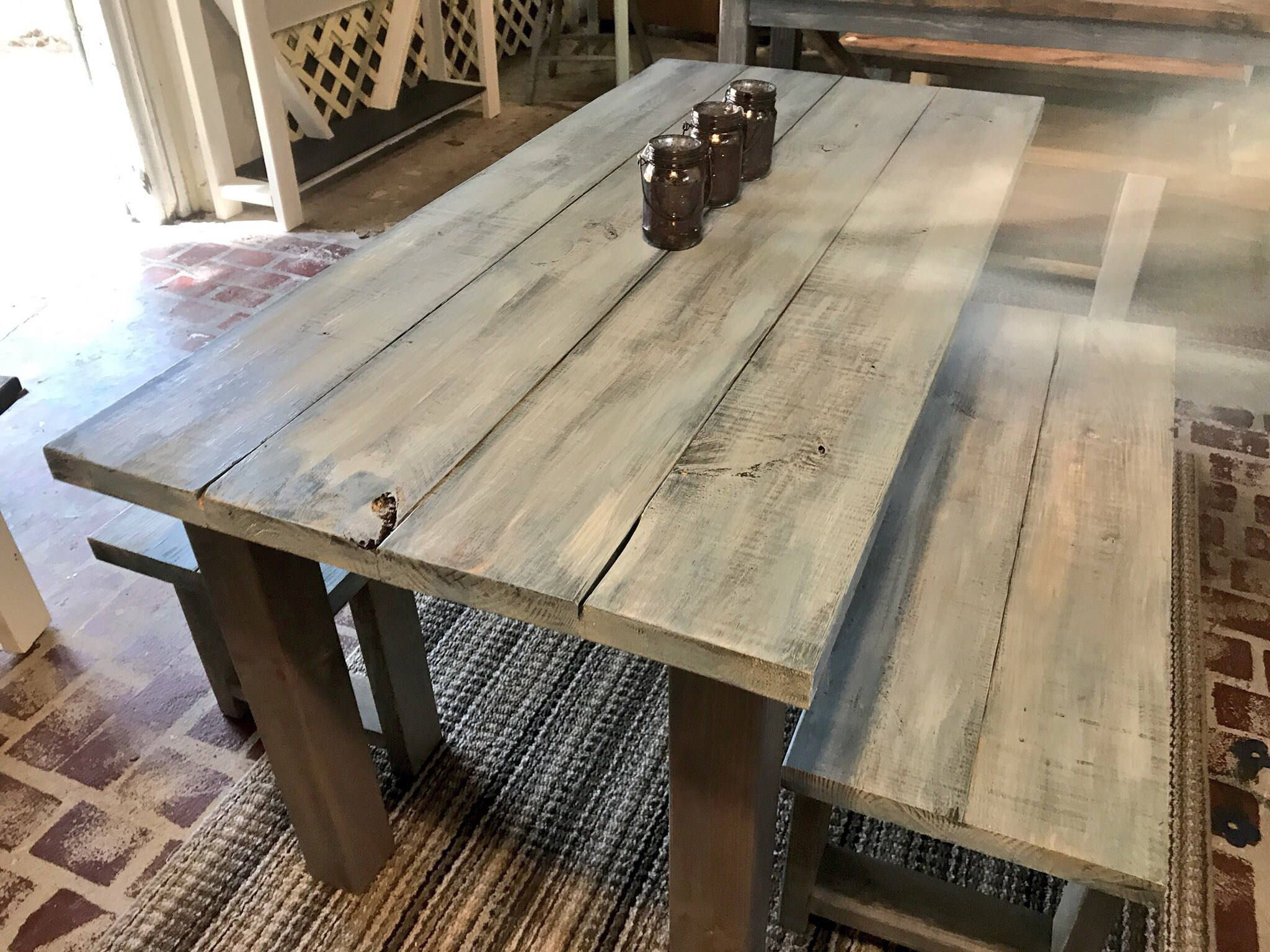 Vintage Aqua Small Farmhouse Table Set With Benches Gray