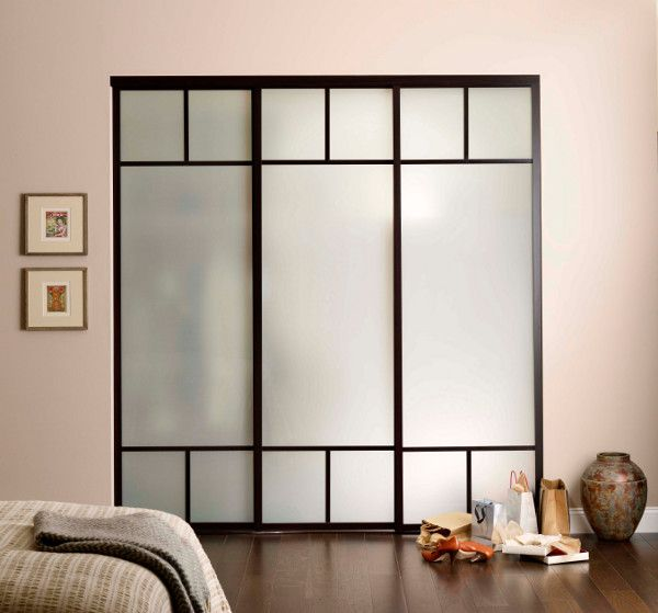 Sliding Door Wardrobe Blue Border And Opaque Frosted Gl