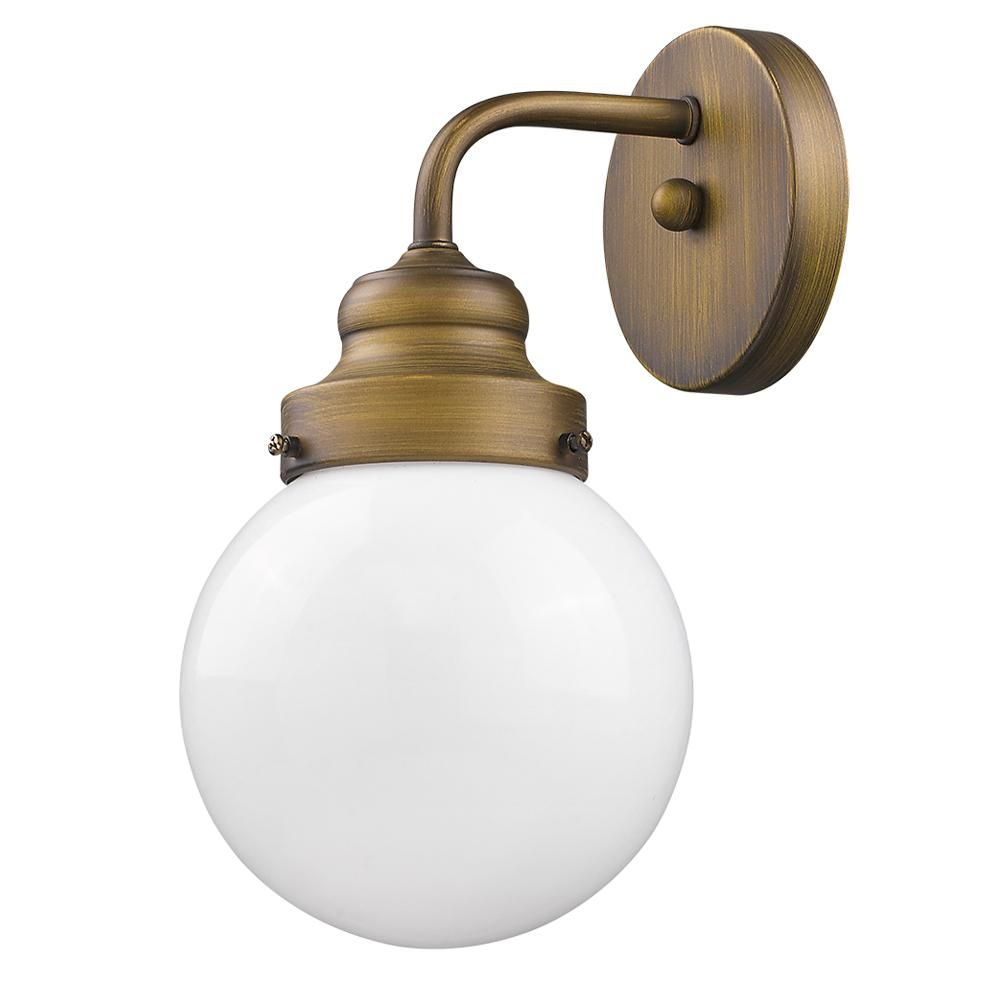 Acclaim Lighting Portsmith 1 Light Raw Brass Sconce With White Globe Shade Sconces Wall Sconce Lighting Wall Lights
