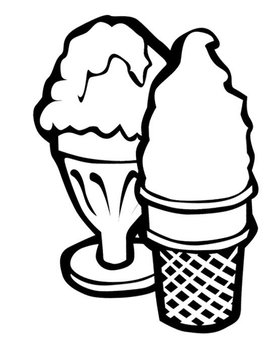 Two Ice Cream Cone Coloring Page Cookie Ice cream