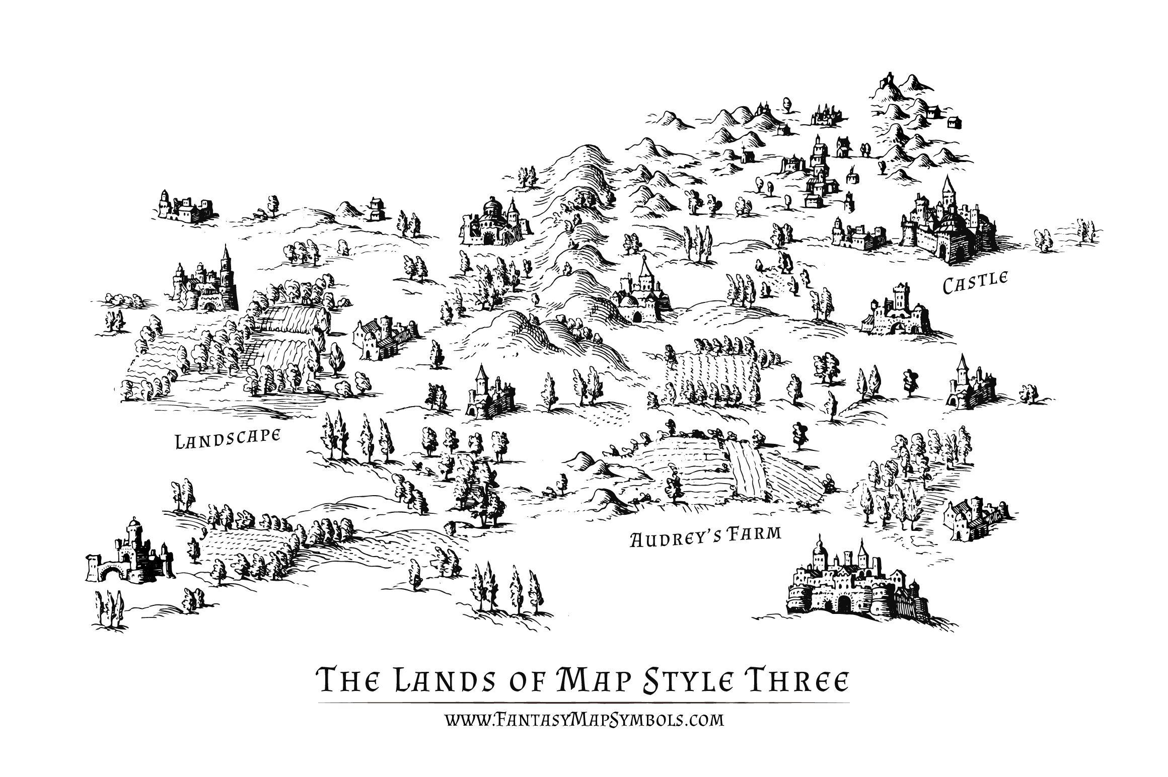 Fantasy Map Symbol Set 3 Illustrator Png Fantasy Map Symbols Fantasy Map Map Symbols Map