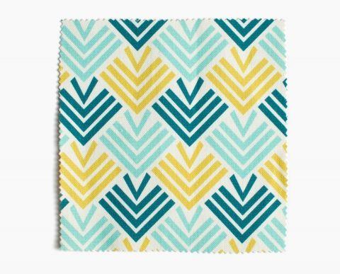 tissu ameublement entrelacs bleu jaune stamps. Black Bedroom Furniture Sets. Home Design Ideas