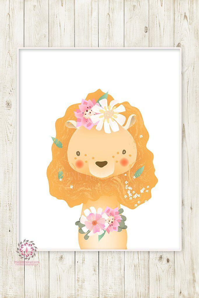 Boho Lion Baby Girl Nursery Wall Art Print Ethereal Whimsical ...