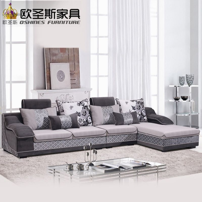 Fair Low Price 2017 Modern Living Room Furniture New Design L Shaped Sectional Suede Velvet Fabric Corner Sofa Set X660 2