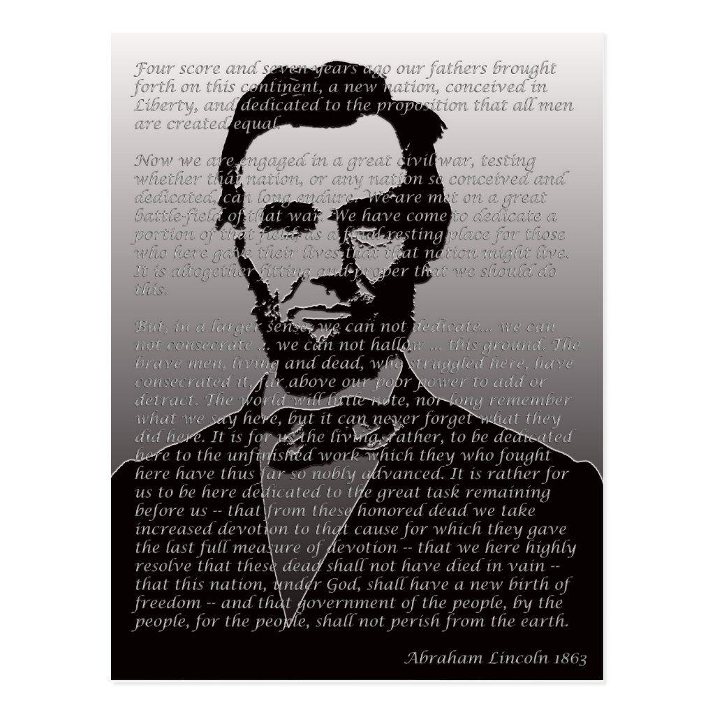 Abraham Lincoln Gettysburg Address Postcard Zazzle Com Abraham Lincoln Gettysburg Address Lincoln S Gettysburg Address Gettysburg Address [ 1024 x 1024 Pixel ]