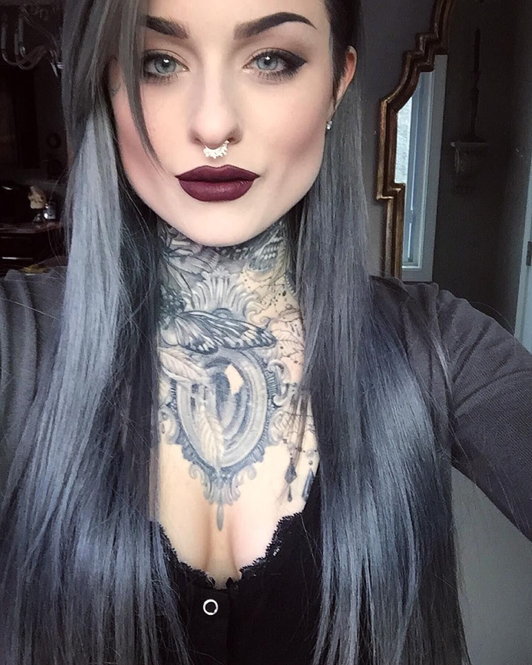 Love Her Dark Lipstick Colors And On Point Eye Makeup If Only I Could Be This Put Together Girl Tattoos Dark Lipstick Dark Lipstick Colors