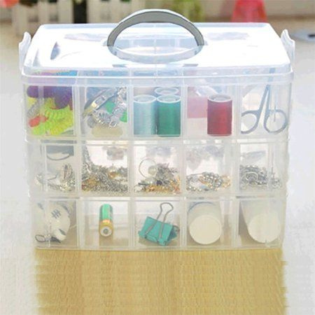 Compartment Storage Box With Removable Dividers, Arts U0026 Crafts Organizer  Case, 3 Tier Clear Stackable Storage Box With Compartments