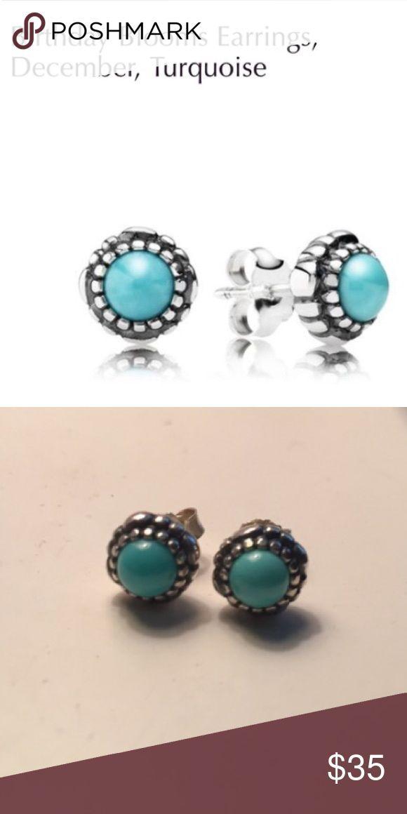 Pandora Earrings Birthday Blooms Studs Turquoise December Birthstone Jewelry