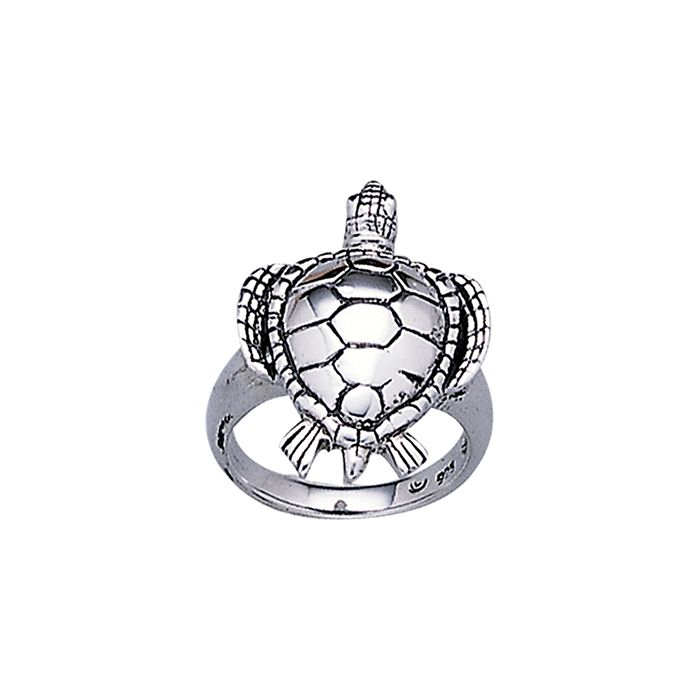 Loggerhead Turtl Sterling Silver Ring TR1524