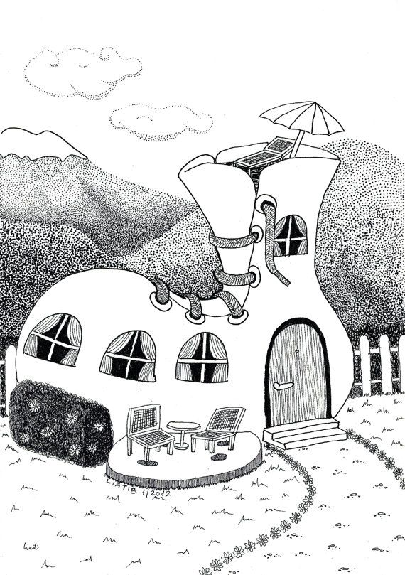Shoe house illustration black and white pen illustration