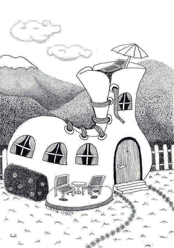 Kids House Drawing: Shoe House Illustration Black And White Pen Illustration