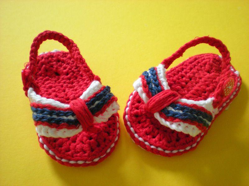 Babyschuhe Flip Flops von Bunt gehäkelt von Petra auf DaWanda.com
