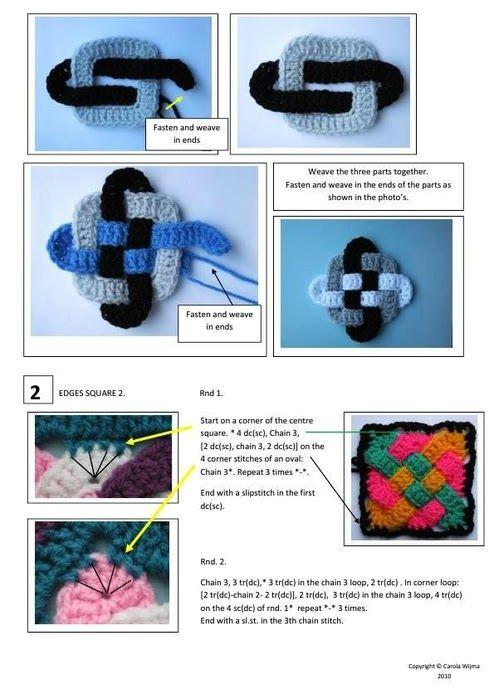 Patrones Crochet: Metodo Punto Celta en Crochet con Cuadrado Granny ...