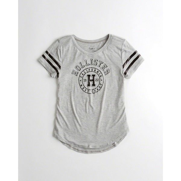Hollister Easy Logo Graphic Tee ($20) ❤ liked on Polyvore featuring tops, t