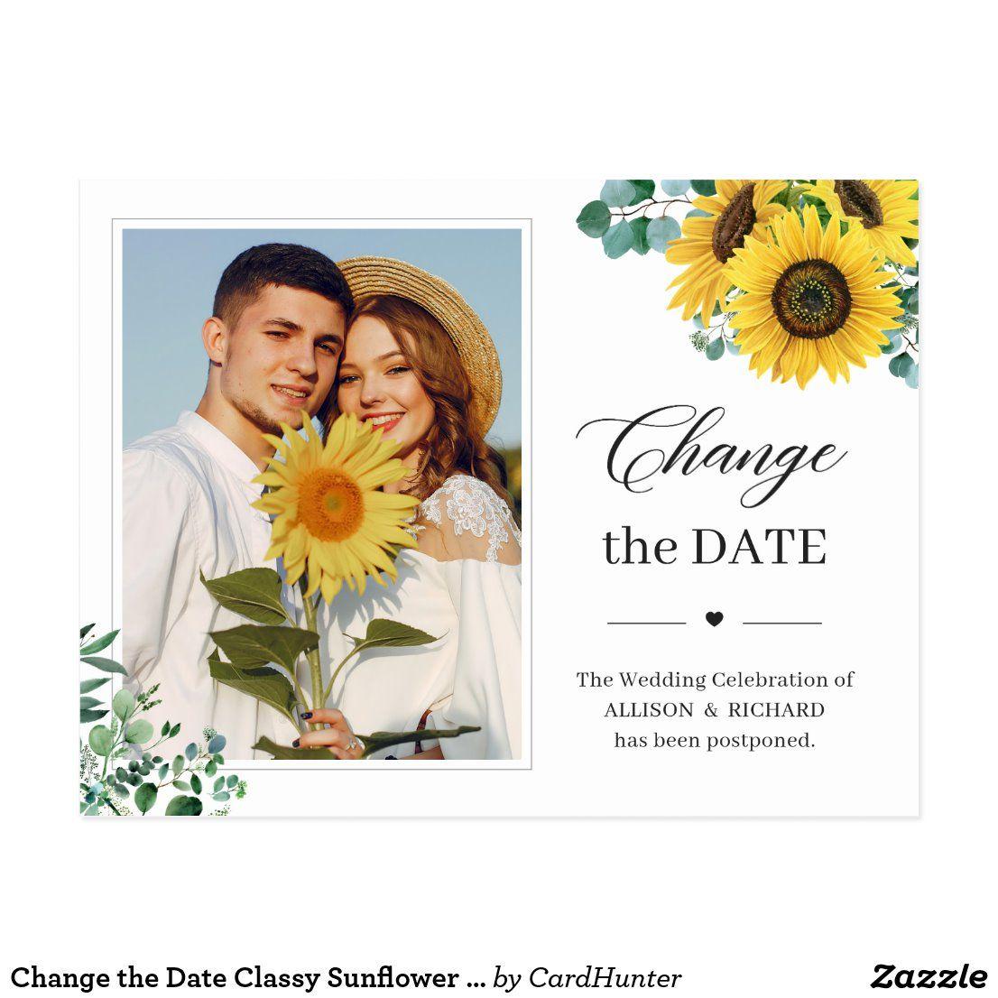 Change the date classy sunflower eucalyptus photo postcard