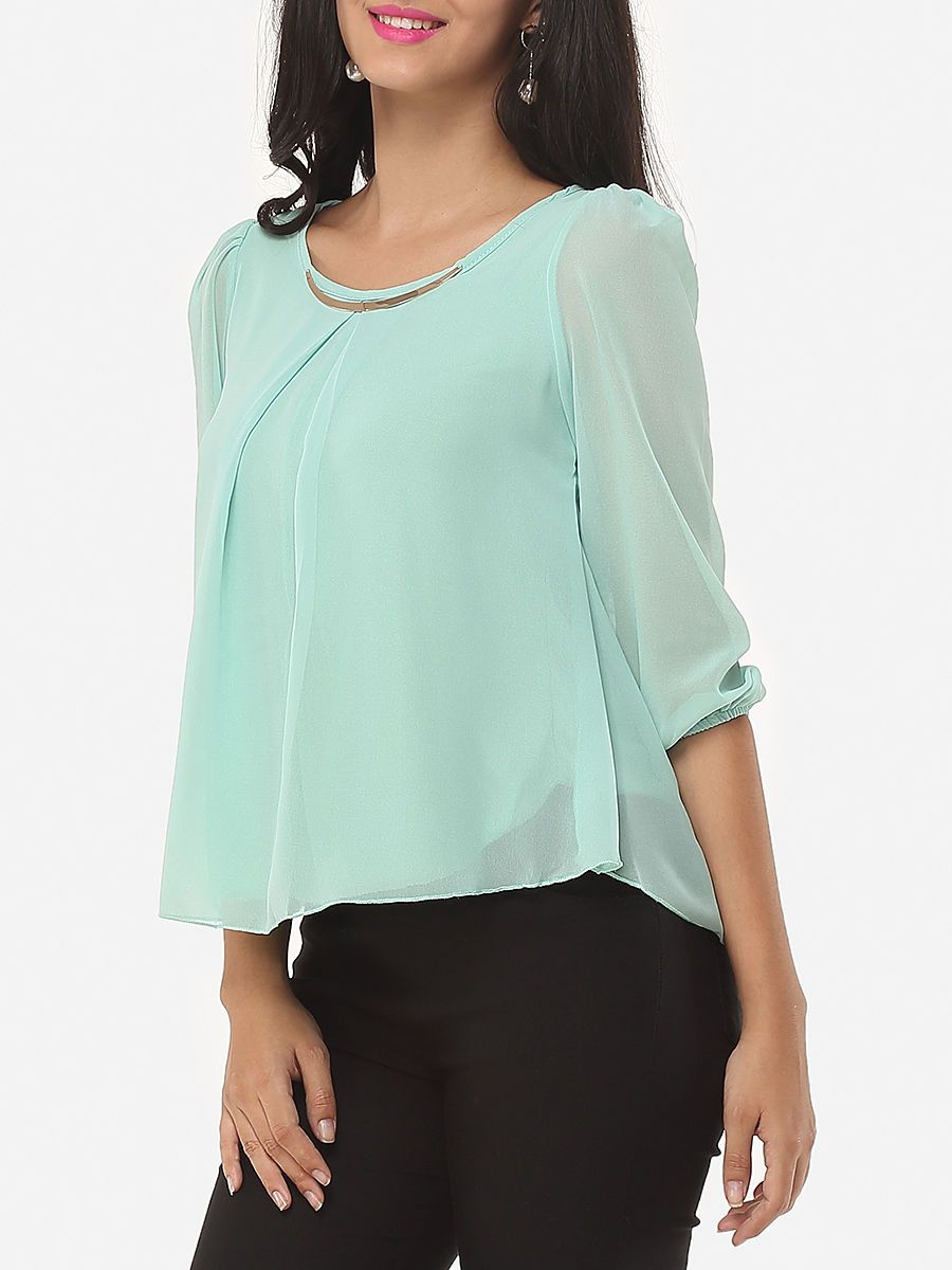 Plain Courtly Round Neck Blouses Blouse, Col rond