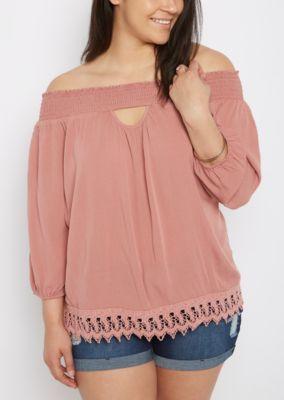 3aa30f5ebbdc8 Plus Pink Smocked Keyhole Off-Shoulder Top