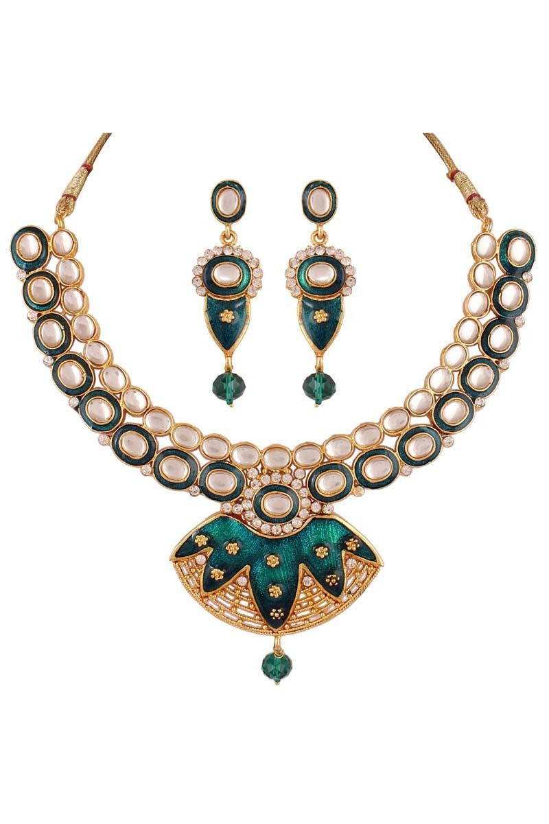 Description buy green gold plated kundan necklace set with best