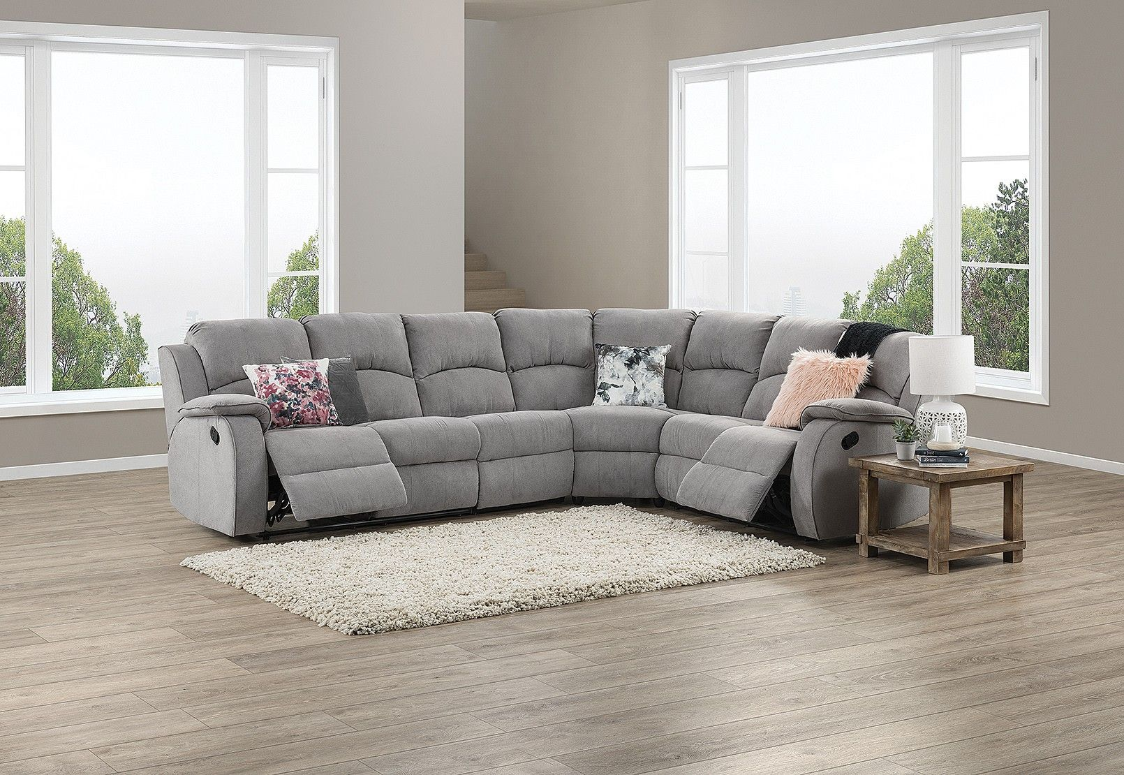 Saloon Fabric Corner Lounge With Inbuilt Recliners Amart Furniture Furniture Lounge Grey Lounge