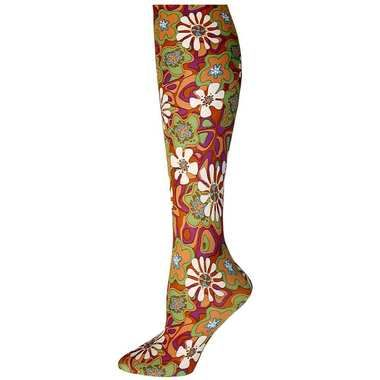 Orange Retro Daisy Trouser Socks / Women's