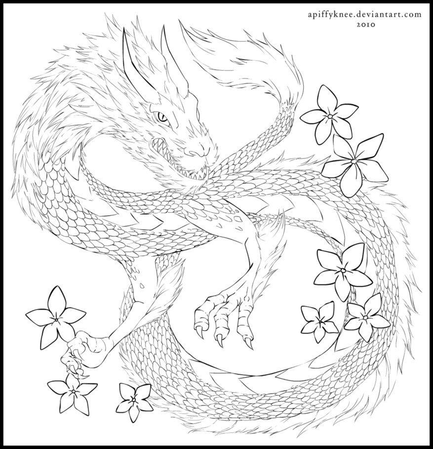 The Dragon Lineart by apiffyknee on DeviantArt Snake