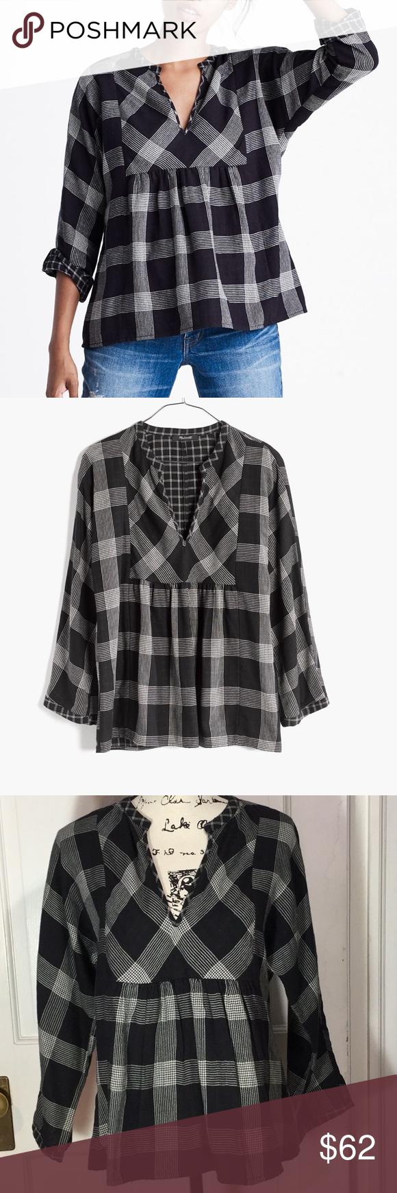 Mandarin collar flannel  Madewell M Boheme Popover black plaid flannel  My Posh Picks