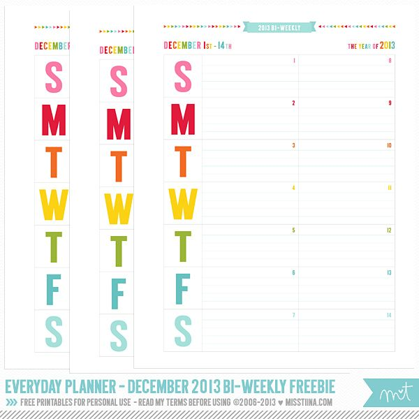 2014 Everyday Planner Free printables, Weekly calendar and - Printable Bi Weekly Calendar
