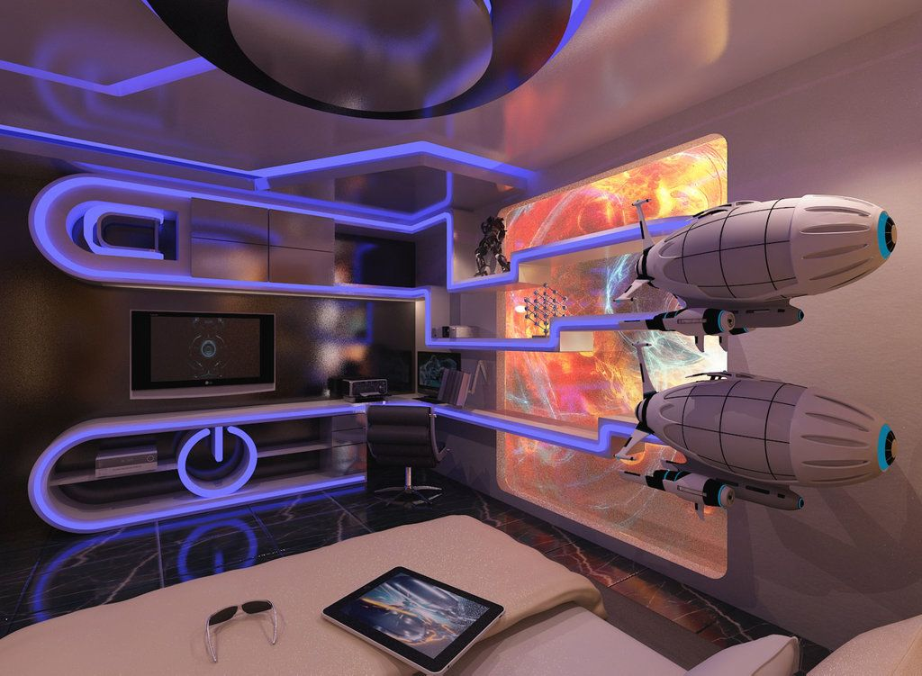 Futuristic Tron Bedroom by on