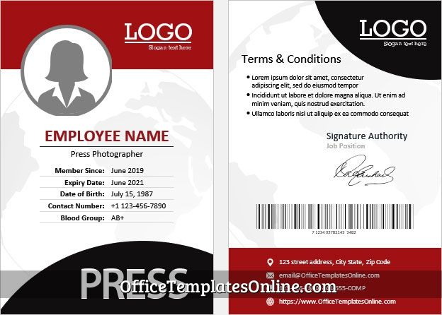 Ms Word Photographer Identity Card Template For Press In 2021 Badge Template Words Card Template