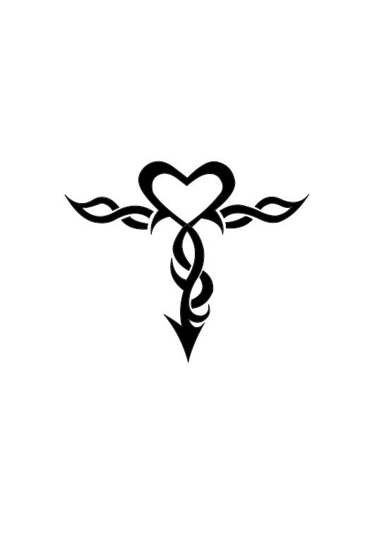 Tribal Heart Cross Google Tattoo Cross Pinterest