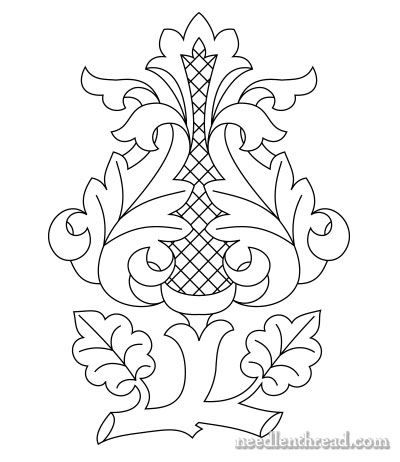 Free Hand Embroidery Pattern Rococo Bud Patchwork Arte