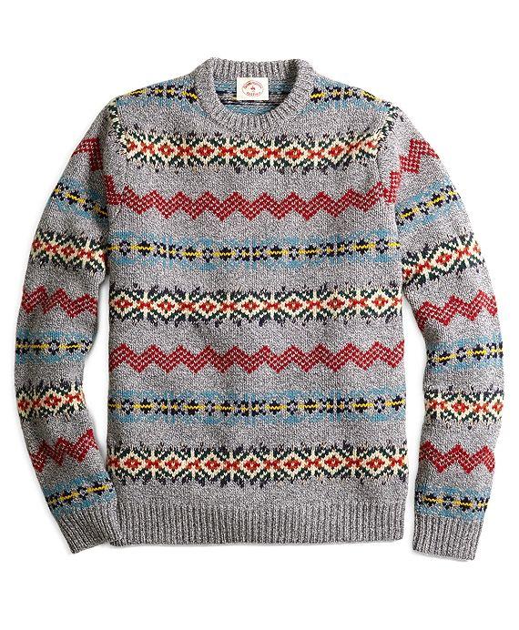 Fair Isle Stripe Crewneck SweaterGrey Multi | Christmas Outfits ...