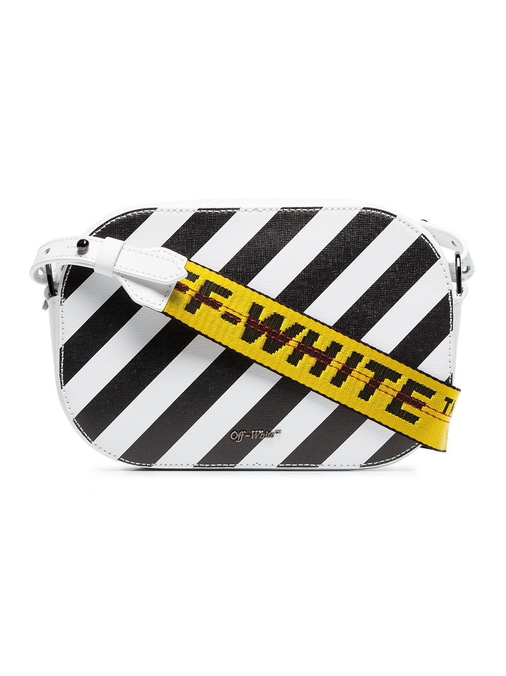 85a7d4a72 Off-White black and white diagonal stripe leather camera bag ...
