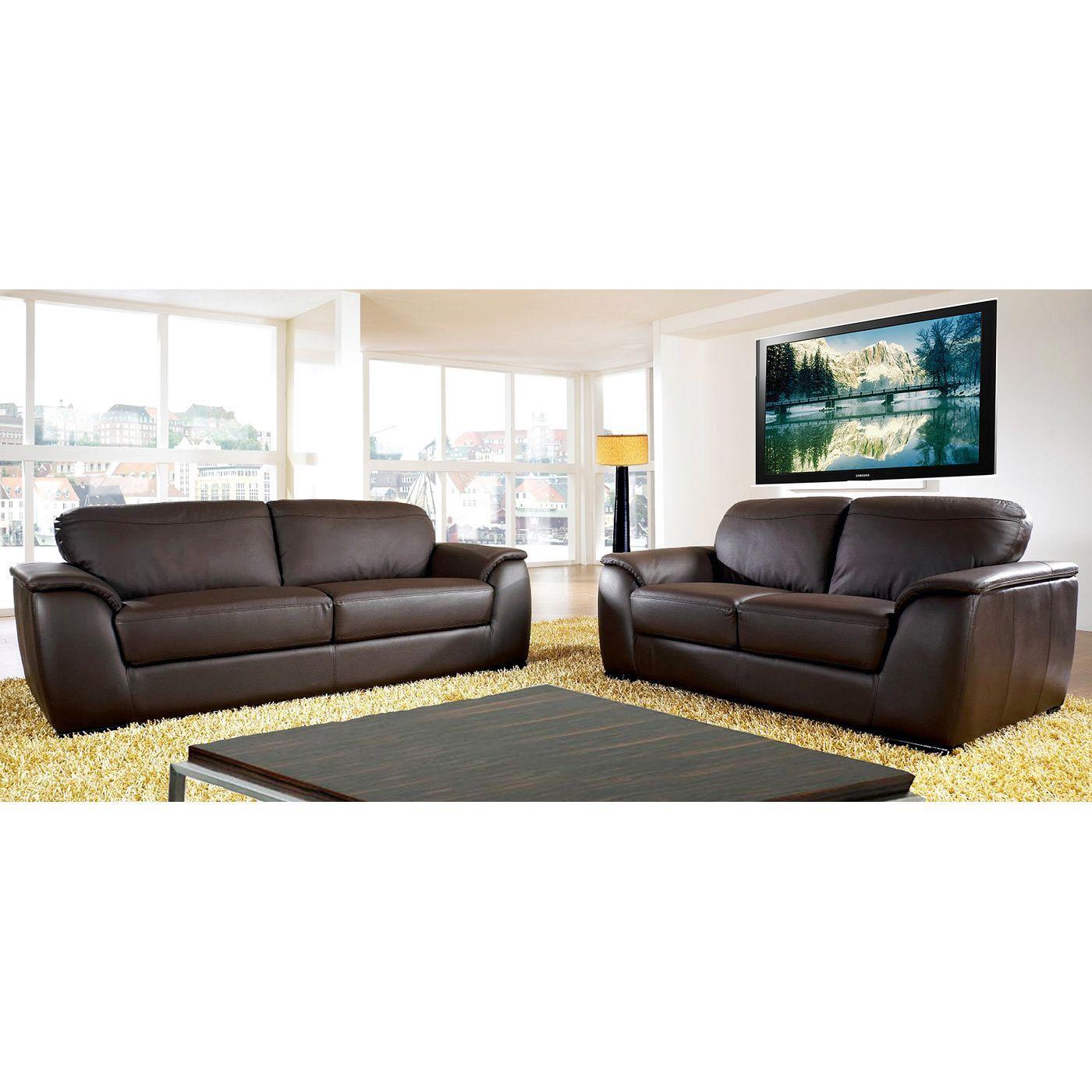 Abbyson Ashton Top Grain Leather Sofa And Loveseat Set Living Brown