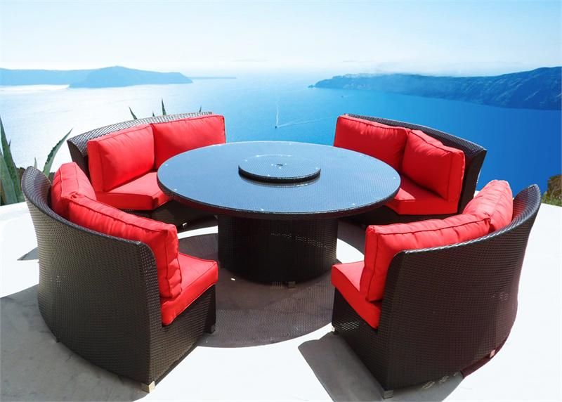 CASSANDRA ROUND OUTDOOR WICKER DINING SOFA SET PATIO FURNITURE CHOOSE  COLORS HERE!
