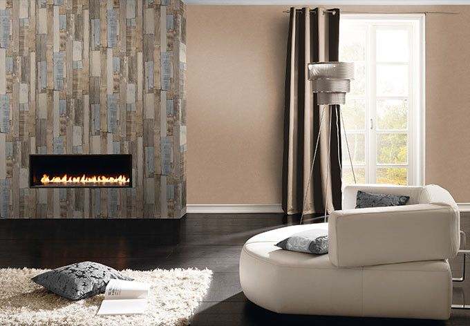 Rasch Vliestapete Factory II Uni 445855 braun wall-artde - wohnzimmer braun modern