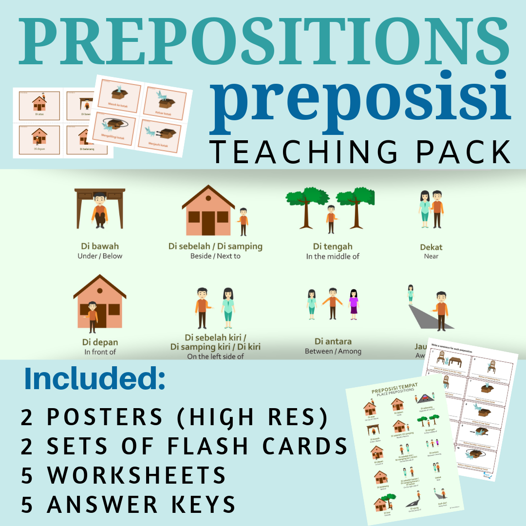 Preposition Indonesian Class No Prep Packet Poster Flash