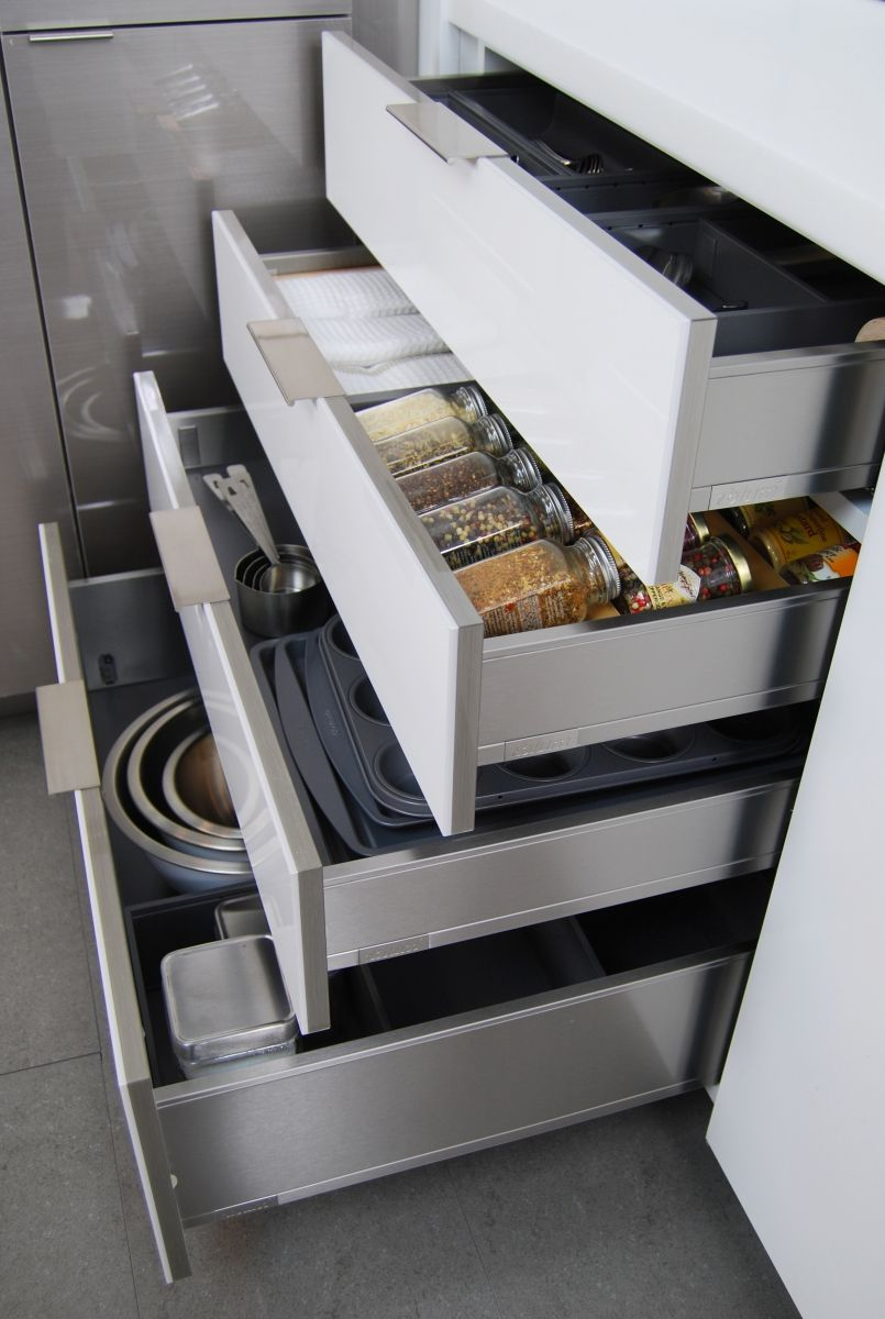 Stainless Steel Drawers For Kitchen Cabinets From Dura Supreme Cabinetry Frameless Contemporary Cabinet Stora Metal Drawers Kitchen Furnishings Steel Kitchen