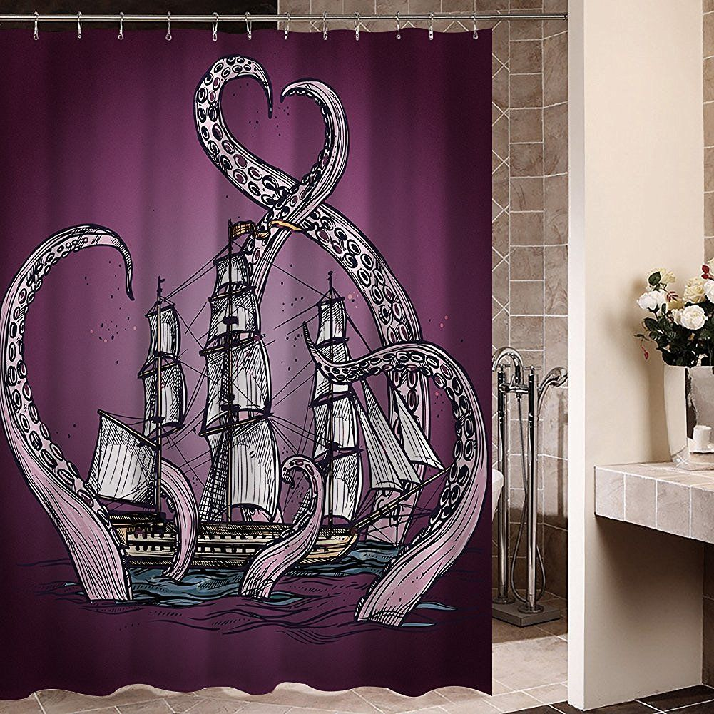 Kraken shower curtain - Stunning Purple Octopus Kraken Attacking A Ship Shower Curtain Love The Colors And The Detail