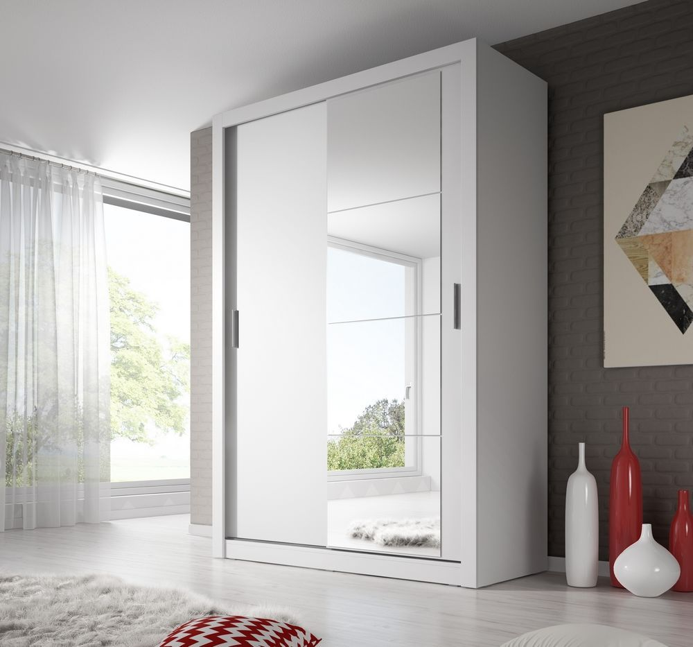 Brand New Modern Bedroom Mirror Sliding Door Wardrobe Arti 6 120cm In White Matt Sliding Wardrobe Wardrobe Doors Sliding Wardrobe Doors