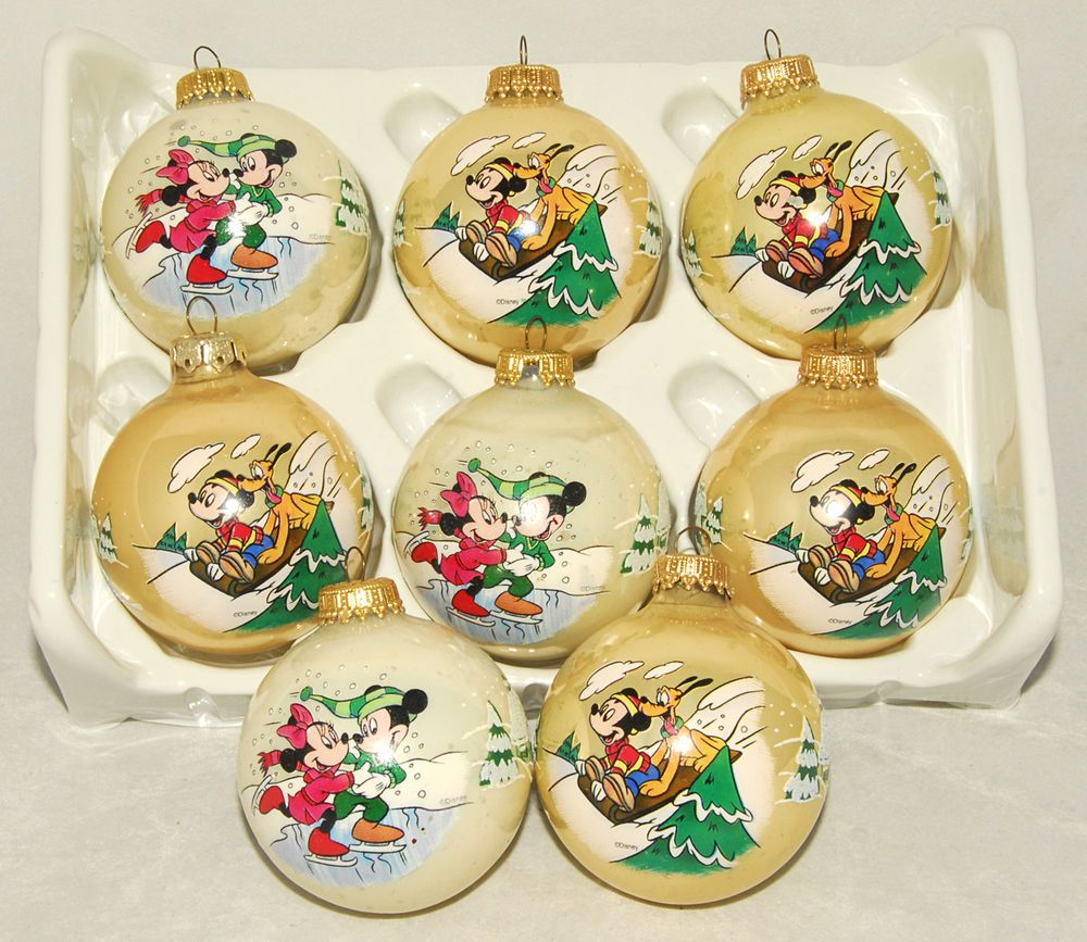 Disney ornament sets - Details About Disney Vtg Ball Mickey Mouse Minnie Pluto Christmas Ornaments Set Of 8