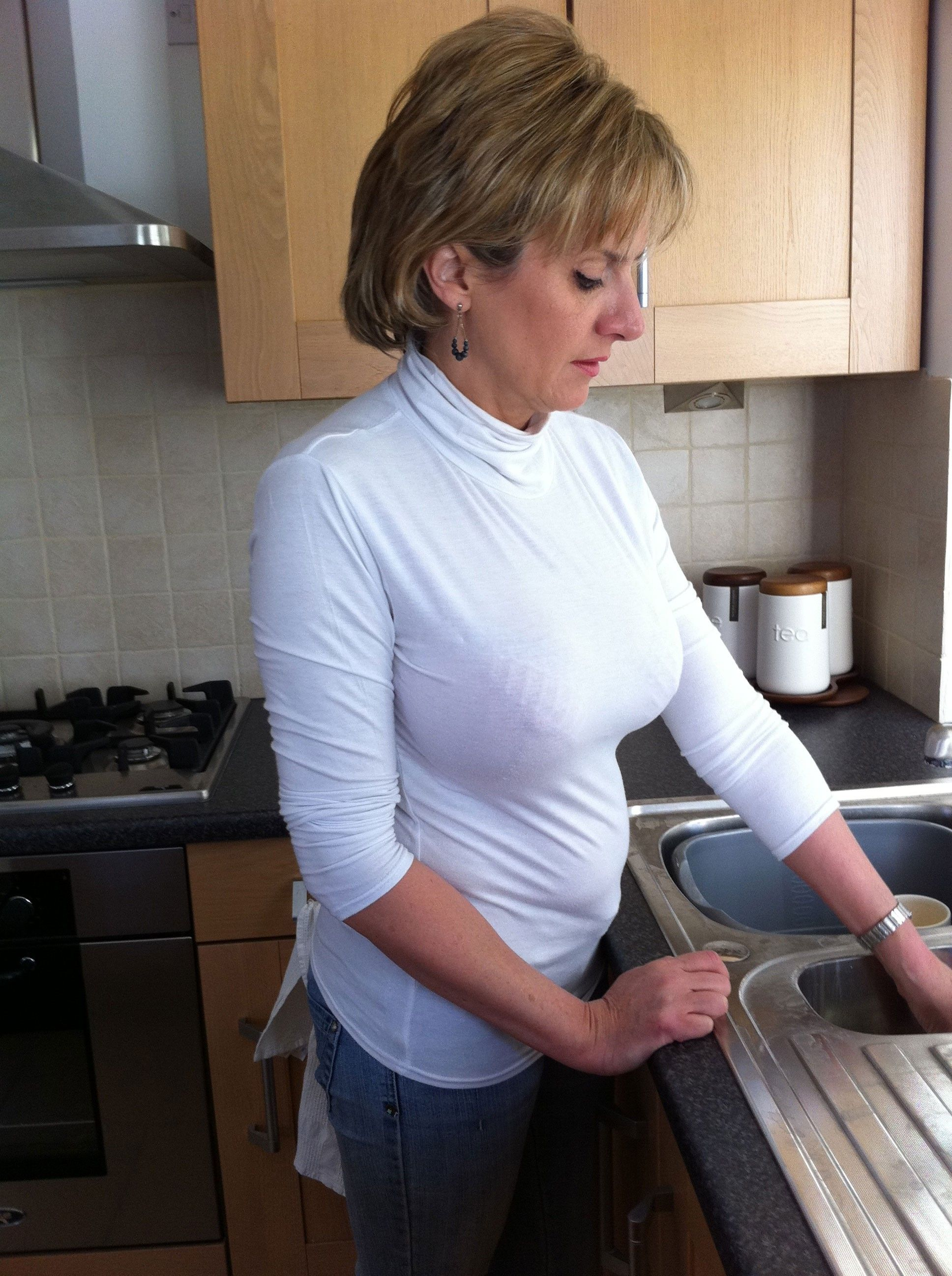 Pin by riley o on busty pinterest polo neck and curves for Naked in kitchen pics