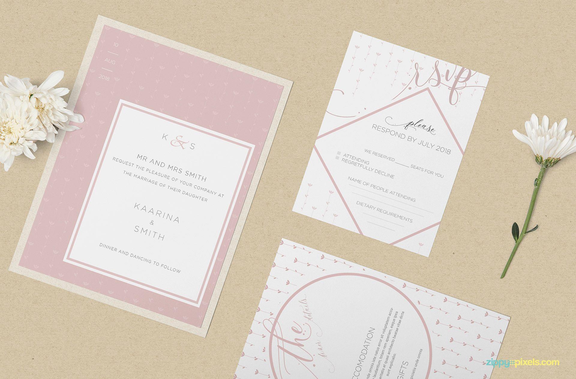 Wedding Invitation Mockup Psd Free With Images Free Wedding