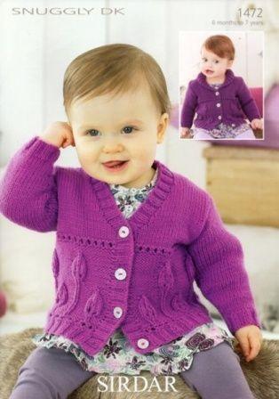 Purple Baby Cardigan Knitting Pattern Sirdar 1472 Snuggly Dk