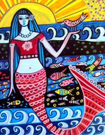 8x10  Mermaid Art Panel Print Hardboard Ready by HeatherGallerArt, $24.99