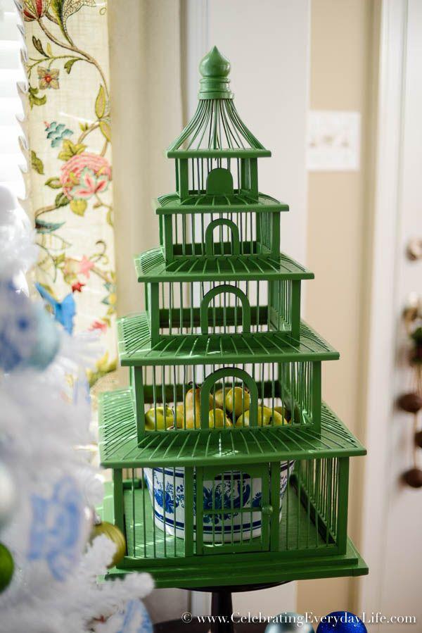 pagoda birdcage blue white christmas tree flocked white christmas tree diy christmas ornaments walmart christmas tree blue white christmas - Walmart Christmas Decorations 2017