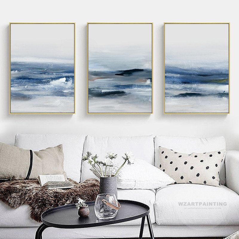 Framed Wall Art Set Of 3 Prints Abstract Ocean Navy Blue Wave Etsy Framed Wall Art Sets Frames On Wall Large Wall Pictures